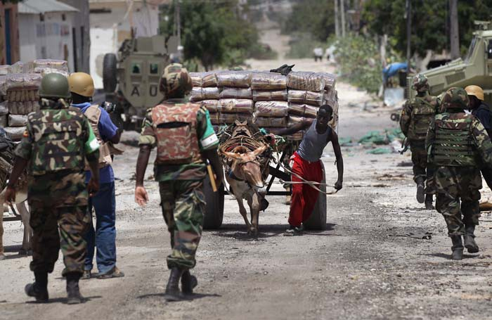 African Union Peacekeepers Patrol Mogadishu After Al-Shabab Militants Withdraw