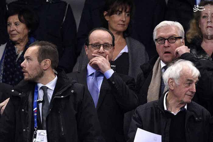 ออล็องด์ ประธานาธิบดีฝรั่งกำลังเข้าชมการแข่งขันฟุตบอลระหว่างฝรั่งเศสกับเยอรมัน ในขณะที่เกิดเหตุการณ์