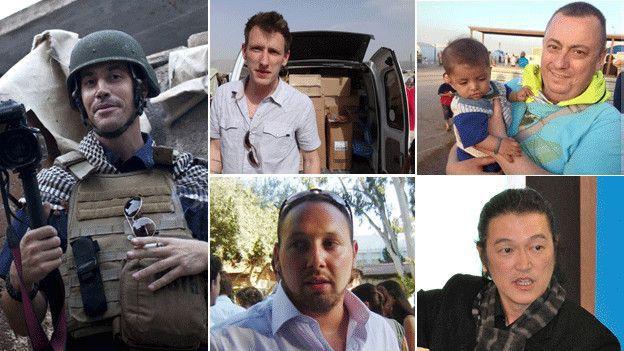 (แฟ้มภาพ ไอซิส(ทั้งในอิรักและซีเรีย) ได้ลักพาตัวบรรดานักข่าวและนักสิทธิมนุษยชน เช่น James Foley, Abdul Rahman (Peter) Kasyg Ellen Henning Kenji Goto และ Steven Svltvf )